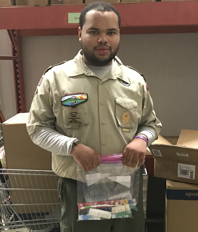Boy Scouts Donate Toiletry Kits