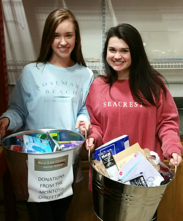 McIntosh High School Chiefettes Donate Food