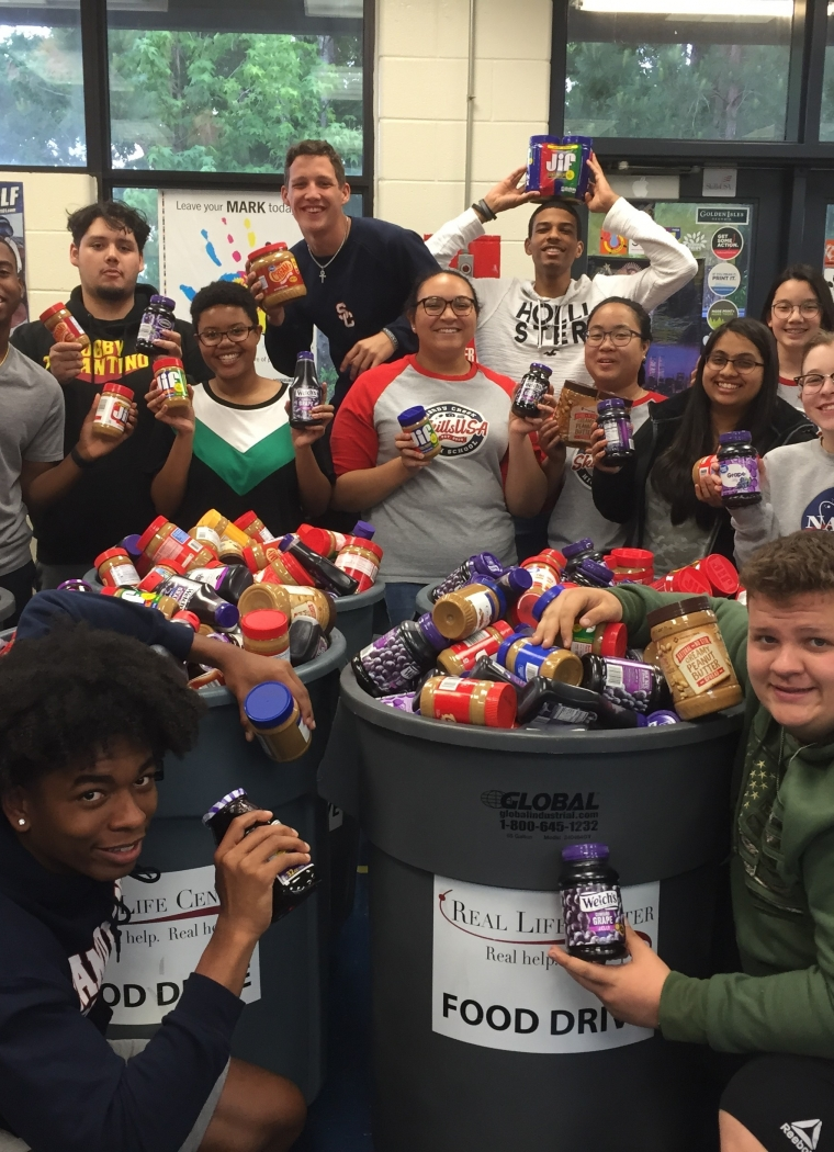 Skills USA Club has a blast while helping others with PB&J collection