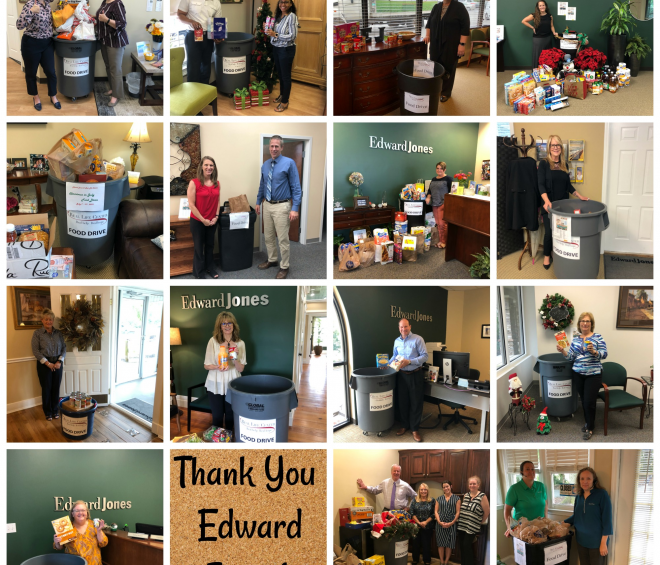 15 Edward Jones office collaboratively bless our food pantry shelves
