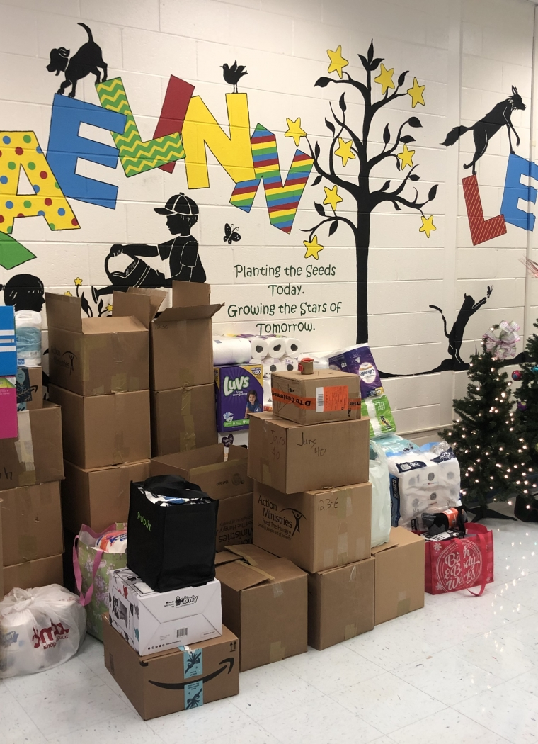 Braelinn Elementary Gifts Us with Needed Toiletries